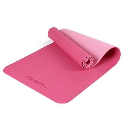 TOMSHOO 72.05 × 24.01in Portable Double bicolore Tapis de yoga Épaissir Tapis de sport Tapis d'exercice antidérapant