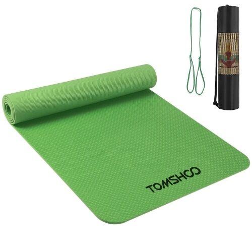 TOMSHOO 72.05 × 24.01in tapis de yoga portable épaissir tapis de sport tapis d'exercice antidérapant pour les entraînements de remise en forme avec sangle de transport et sac de rangement