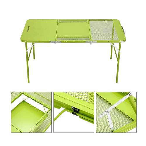 TOMSHOO Two Heights Mutifunctional Combo Trible Treble Table pliante Bureau avec quatre chaises de pique-nique Camping festival