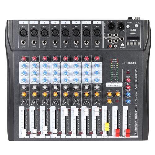 ammoon CT80S-USB 8 canal Digtal micro ligne Audio Mixer table de mixage avec alimentation fantôme 48V pour enregistrer la scène DJ Karaoke Musique appréciation