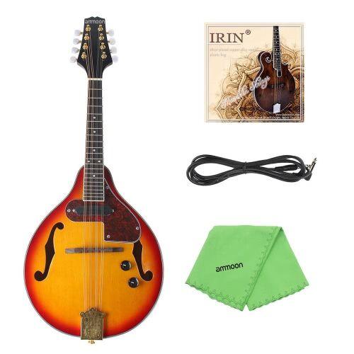 ammoon Réglable 8 cordes électro un Instrument à cordes Style mandoline palissandre manche avec câble cordes chiffon de nettoyage
