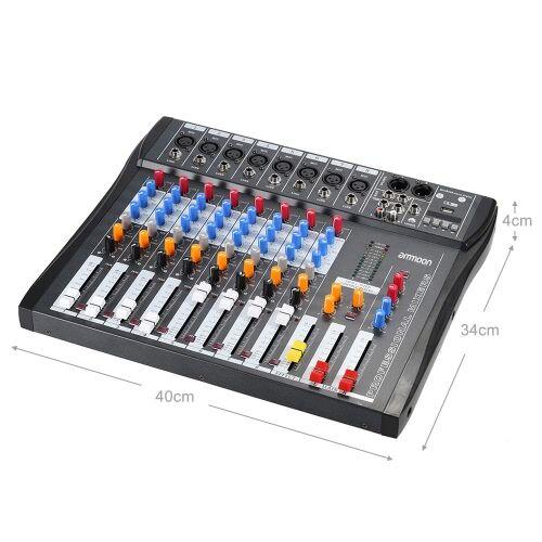ammoon CT80S-USB 8 canaux Mic ligne Audio Mixer Console de mixage numérique avec alimentation fantôme 48 v pour enregistrement DJ étape appréciation de la musique karaoké