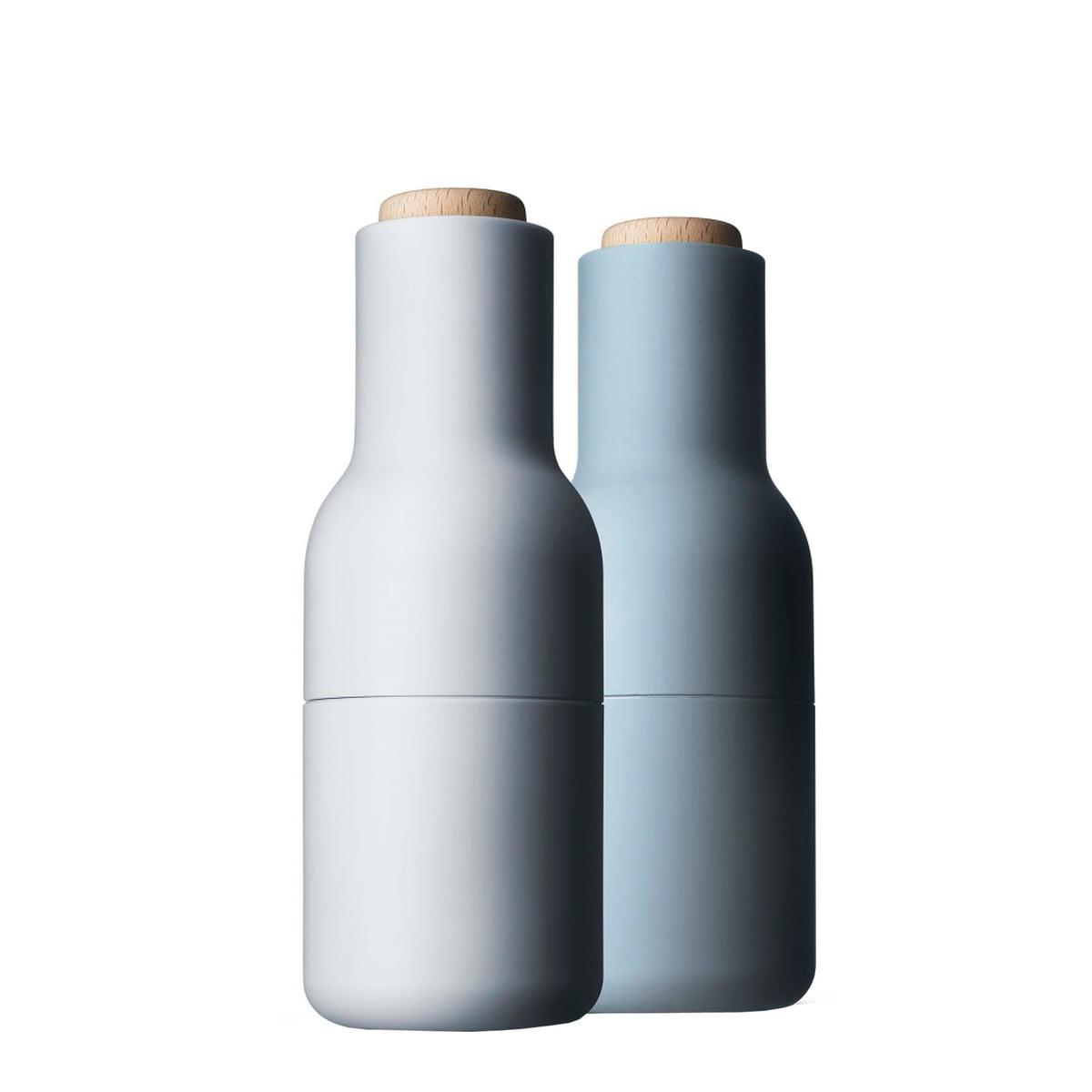 Menu - Ensemble moulin à bottle sel et poivre, bleu clair (couvercle en bois)