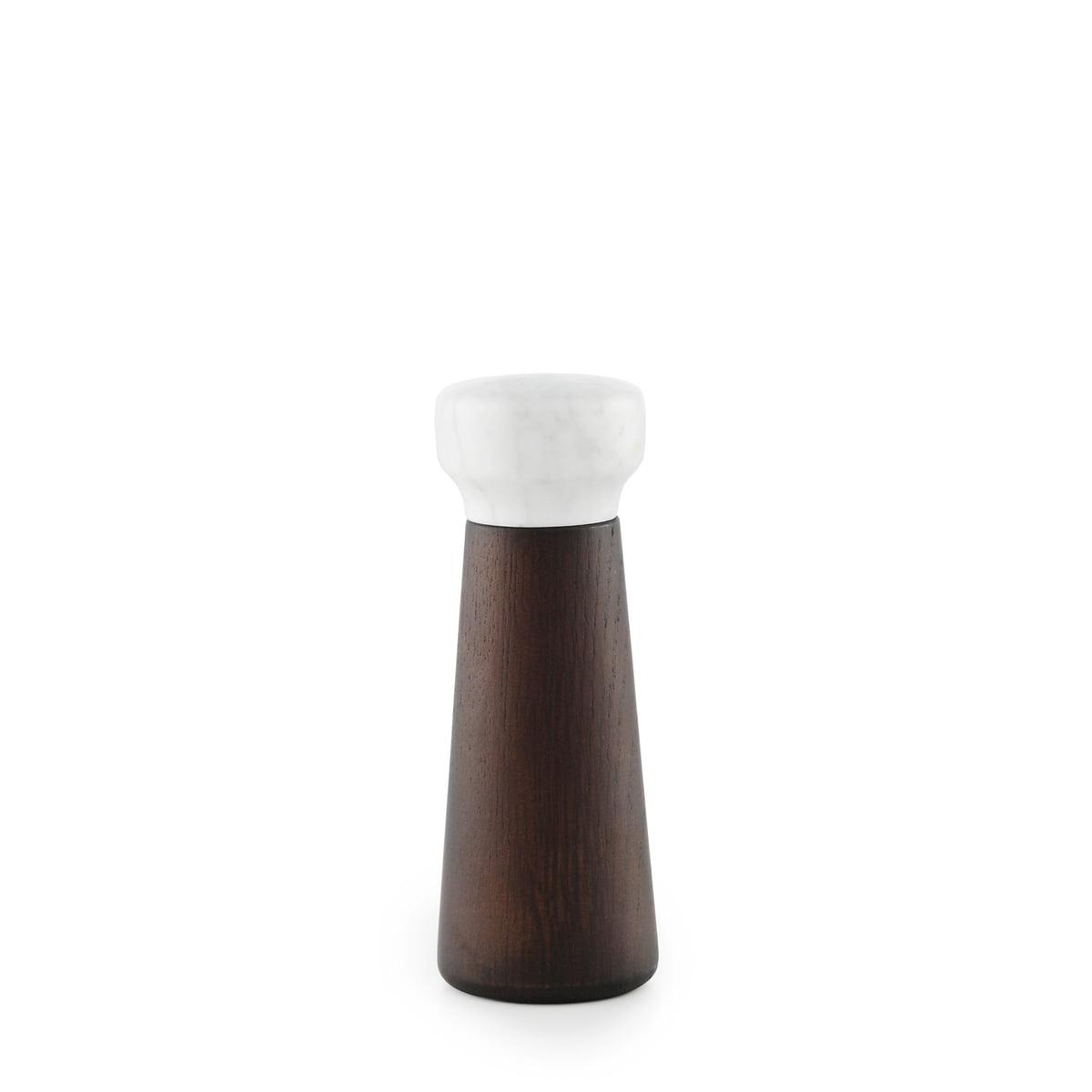 Normann Copenhagen - Moulin à sel artisanal petit modèle, chêne teinté / marbre blanc