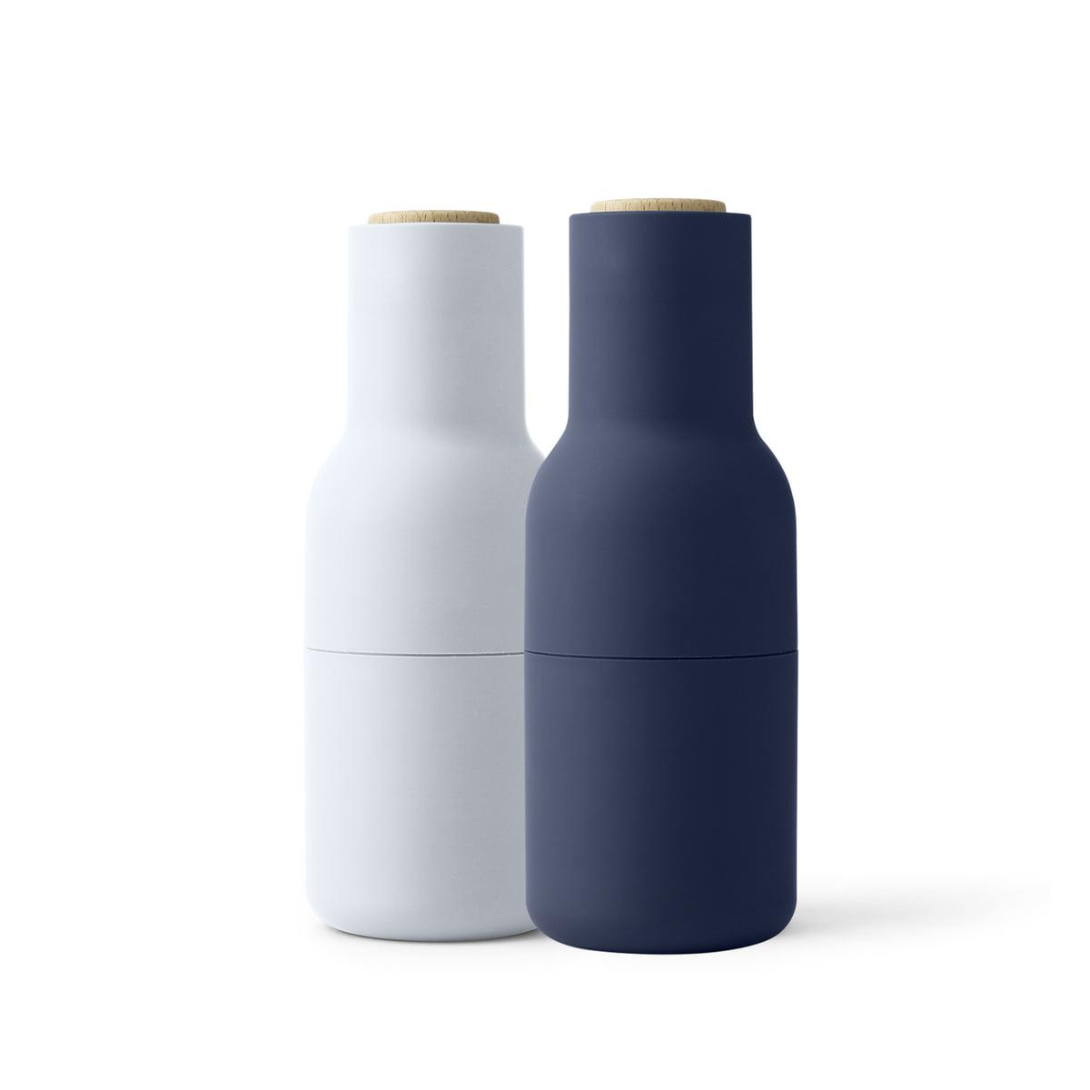 Menu - Ensemble moulin à bottle sel et poivre, classic blue (couvercle en bois)