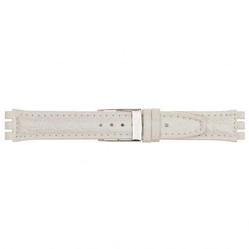 Alternative Swatch Bracelet de montre alternative adaptée à Swatch 247.20M Cuir Blanc 19mm