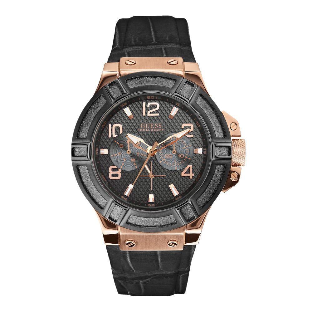 Guess Bracelet de montre Guess W0040G5 / W0040G1 Cuir croco Noir 22mm