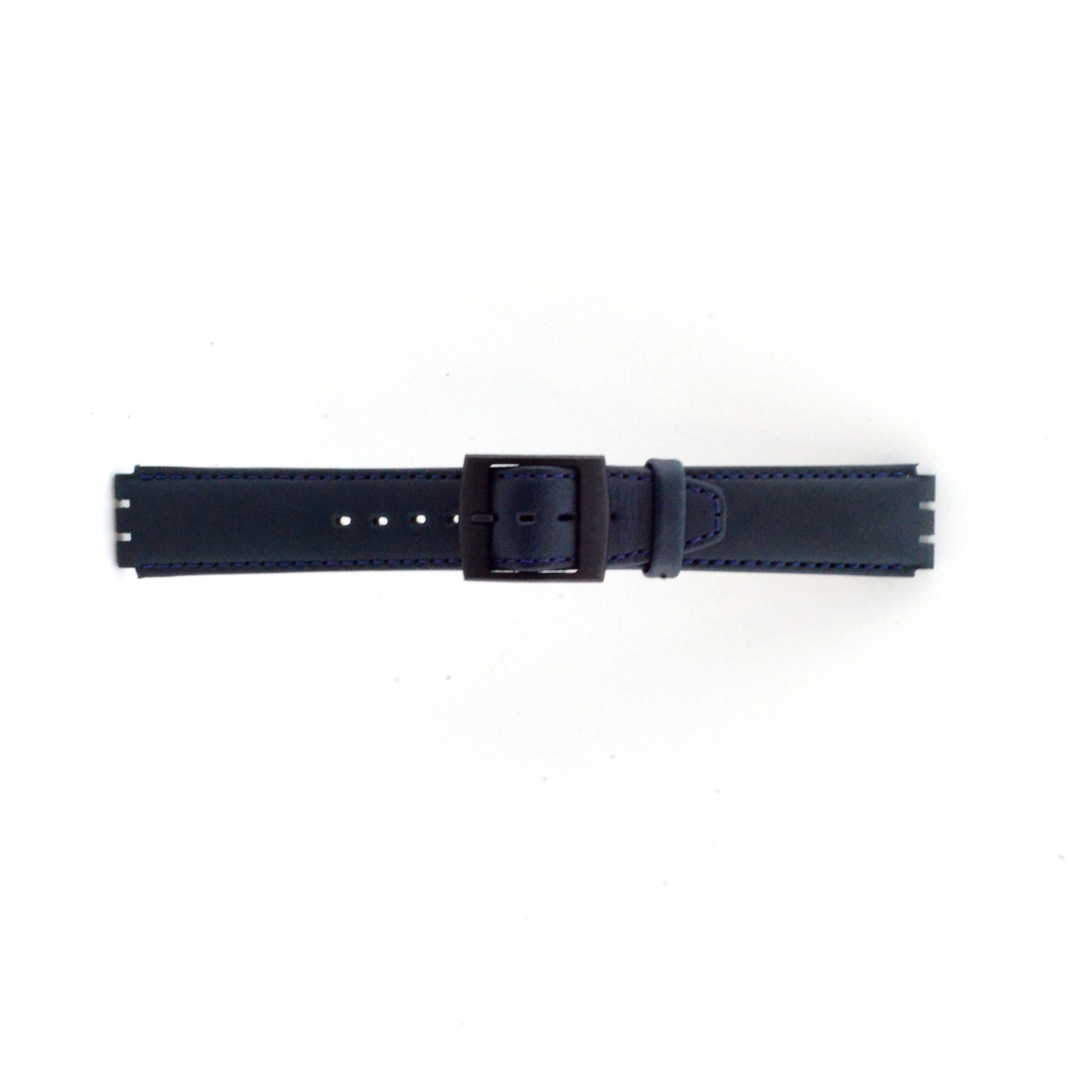 Alternative Swatch Bracelet de montre Swatch SC11.05 Cuir Bleu 17mm