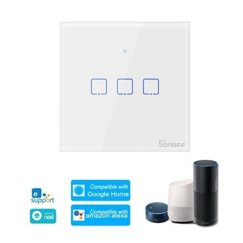 SONOFF T0UK3C-TX Interrupteur mural intelligent avec 3 dispositifs d'interrupteur mural WiFi APP / Interrupteur tactile Minuterie pour panneau de contrôle britannique compatible avec Google Home / Nest & Alexa