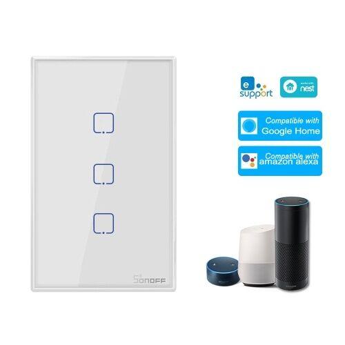 SONOFF T0US3C-TX Interrupteur mural intelligent avec 3 dispositifs d'interrupteur mural WiFi APP / Panneau de contrôle tactile Interrupteur intelligent avec panneau standard américain compatible avec Google Home / Nest & Alexa