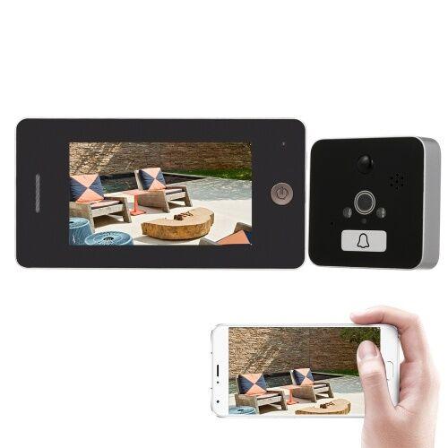 other Peephole sans fil Vidéo sonnette de porte numérique Visionneuse de porte Peephole de sécurité haute définition couleur LCD écran caméra de surveillance Moniteur APP contrôle