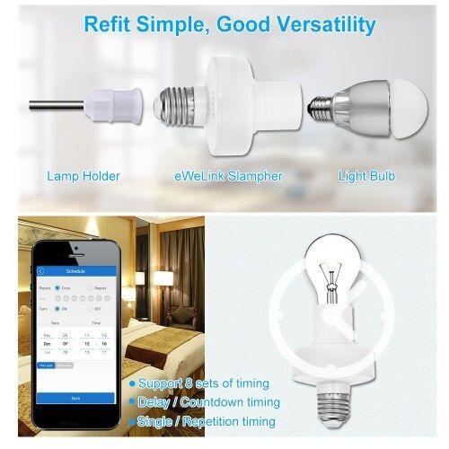other Support d'ampoule eWeLink WiFi Smart E27 Support de lampe sans fil compatible avec Amazon Alexa & pour Google Home / Nest pour Smart Home