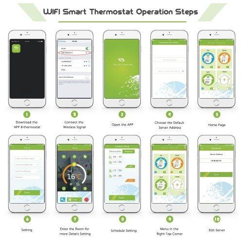 KKmoon Thermostat de chauffage de chaudière à eau / gaz numérique avec connexion WiFi et commande vocale Économie d'énergie CA 95-240V 5A Écran tactile LCD Le contrôleur de température ambiante fonctionne avec Amazon Alexa / Google Home / IFTTT
