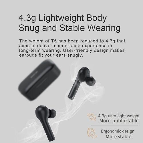 qcy Xiaomi QCY T5 TWS Écouteurs sans fil AAC avec double microphone BT5.0 Touch Control Casque de sport Casque d'écoute stéréo 3D Annulation de bruit mains libres Mini écouteurs anti-transpiration Siri Google Voice Control