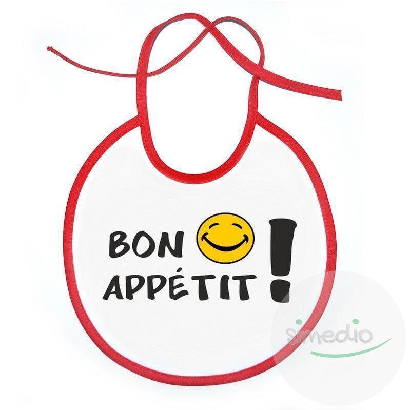 SiMEDIO Bavoir bébé original : BON APPÉTIT ! - Blanc avec bords bleus