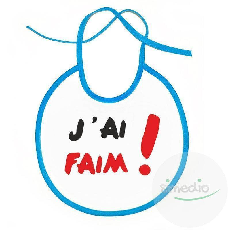 SiMEDIO Bavoir bébé original : j'ai FAIM ! - Blanc avec bords roses