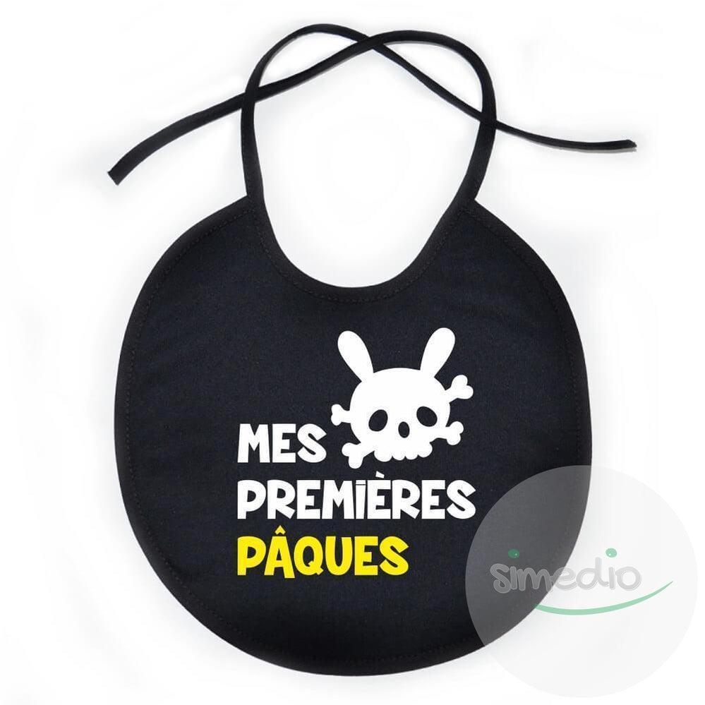 SiMEDIO Bavoir bébé original : mes premières PÂQUES - Tout noir