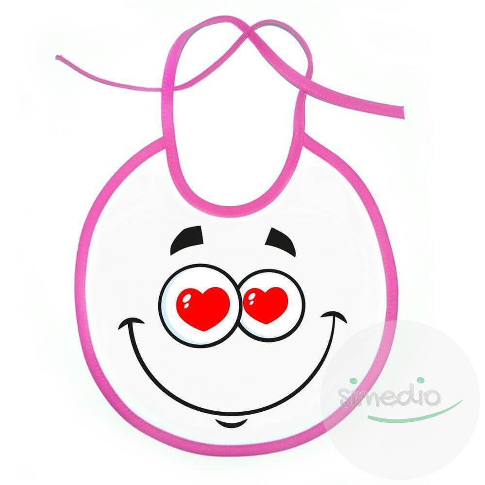SiMEDIO Bavoir bébé rigolo : FRIMOUSSE amoureuse - Blanc avec bords roses