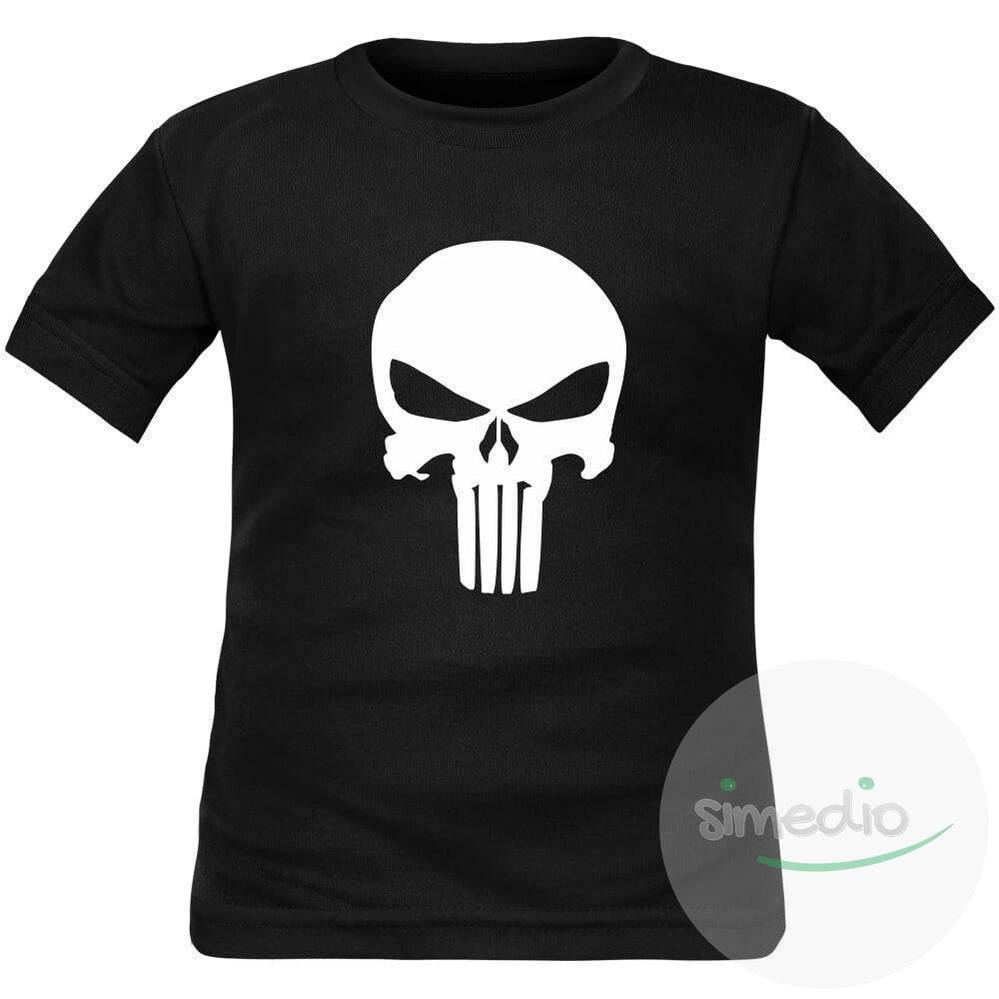 SiMEDIO T-shirt enfant original imprimé : CRANE PUNISHER - Rose 2 ans Courtes