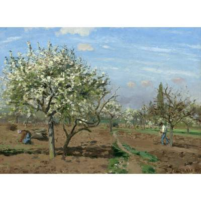 ART Camille Pissarro : Verger en Fleurs, Louveciennes, 1872