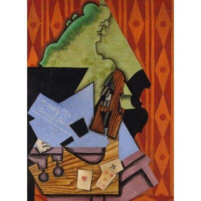 ART Juan Gris: Violon et Cartes à Jouer sur une Table, 1913