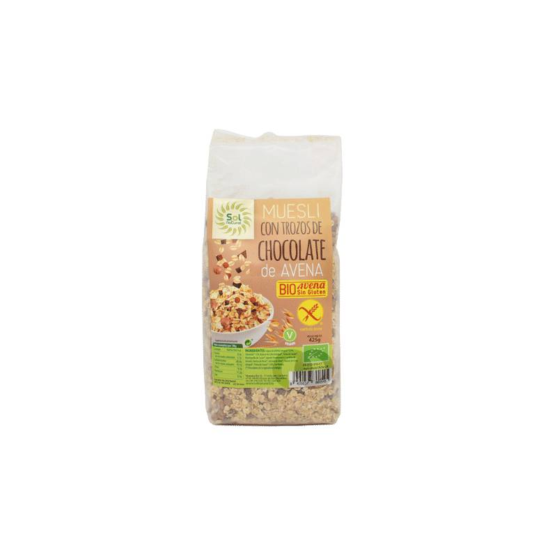Sol Natural Muesli Bio Avoine Chocolat Sans Gluten - 425 Gr - Sol Natural