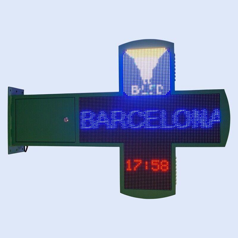 Barcelona LED Croix de pharmacie LED RGB programmable 878 x 878 mm - Croix de pharmacie LED
