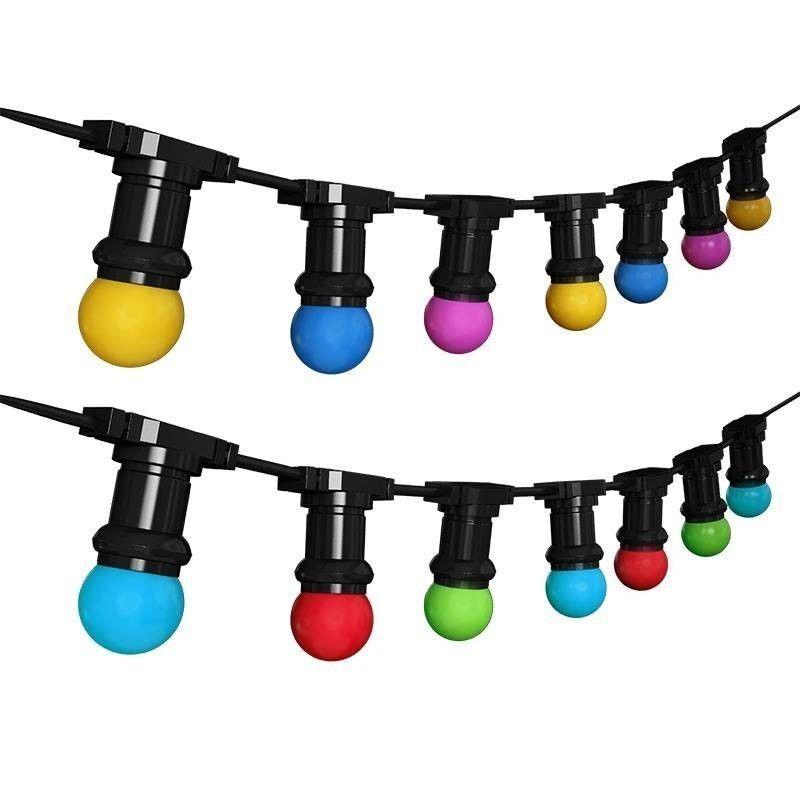 Barcelona LED Guirlande extérieur connectable en série + 10 ampoules multicolores Vert - Guirlande LED