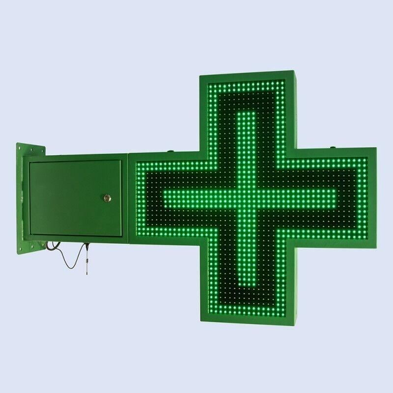 Barcelona LED Croix de pharmacie LED verte programmable  830 x 830 mm - Croix de pharmacie LED