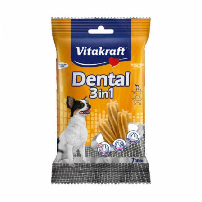 Vitakraft Bâtonnets à mâcher petit chien Dental 3 en 1 aux céréales Vitakraft sachet de 120 g