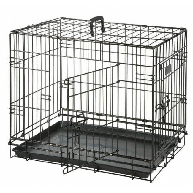 Flamingo Cage de transport métallique pour chien noir Taille XL : L 1,20 m x l 76cm x H 82 cm