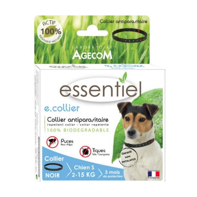 Agecom Collier antiparasitaire pour chien Essential Noir 100% biodégradable 75 cm