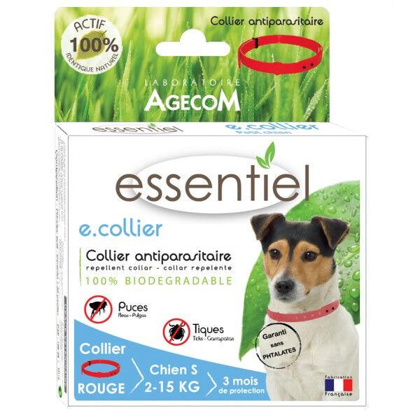 Agecom Collier antiparasitaire pour chien Essential Rouge 100% Biodégradable 41 cm