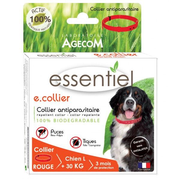 Agecom Collier antiparasitaire pour chien Essential Rouge 100% Biodégradable 75 cm (DLUO 3 mois)