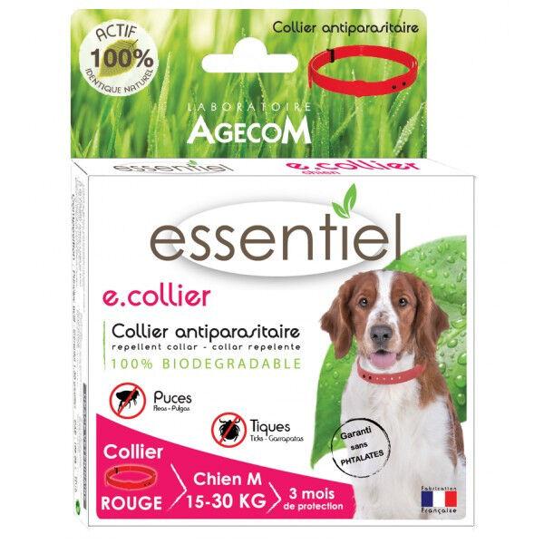Agecom Collier antiparasitaire pour chien Essential Rouge 100% Biodégradable 60 cm (DLUO 3 mois)