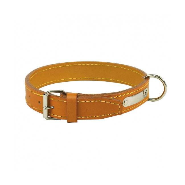 Polytrans Collier cuir traditionnel luxe chien T2 Naturel