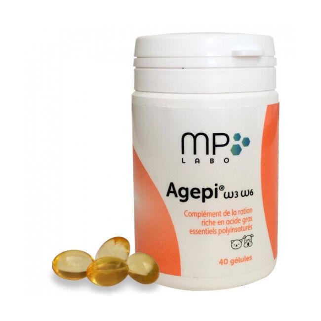MP Labo Complément alimentaire Agepi Omega 3 et 6 pour derme et pelage du chien et chat Boîte de 40 capsules