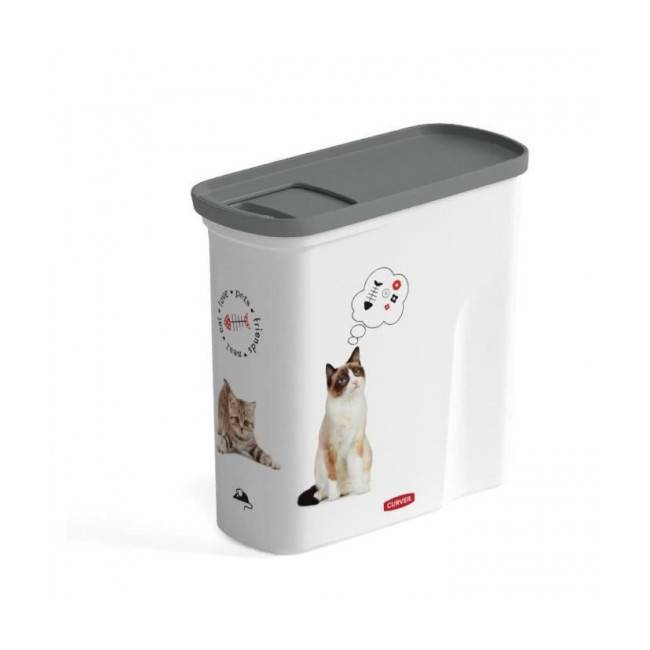 Curver Container verseuse croquette décor chat Petlife - 2 L