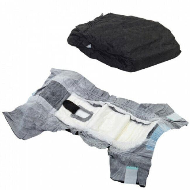 Savic Couche culotte noire Comfort Nappy jetable pour incontinence du chien T1 paquet de 12 couches