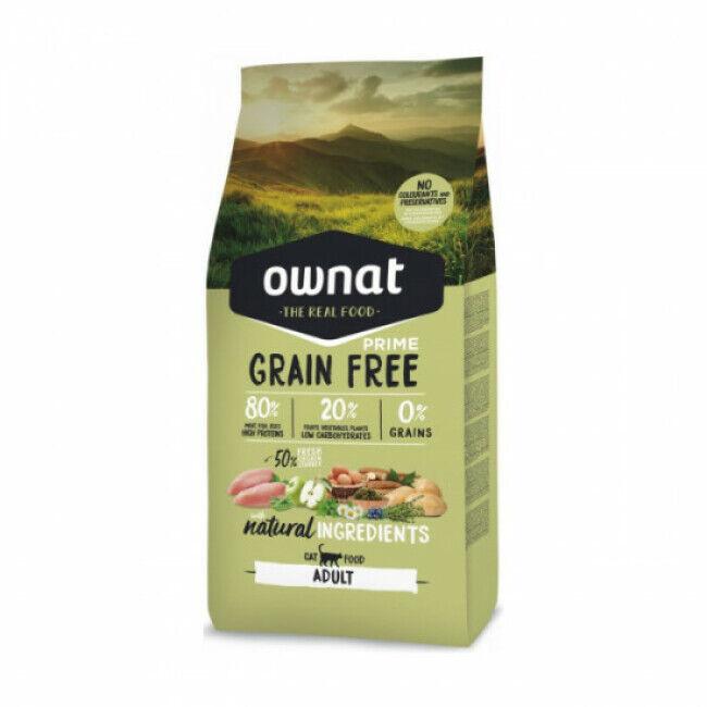 Ownat Croquettes chat adulte Ownat Grain Free Prime Adult sans céréales Sac 8 kg