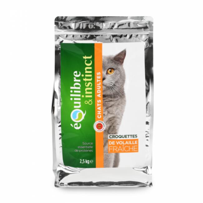 Equilibre & Instinct Croquettes pour chat Adulte Equilibre & Instinct volaille fraîche - Sac 2,5 kg