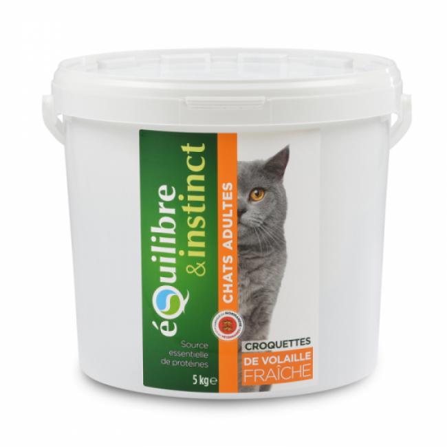 Equilibre & Instinct Croquettes pour chat adulte Equilibre & Instinct volaille fraîche - Seau 5 kg