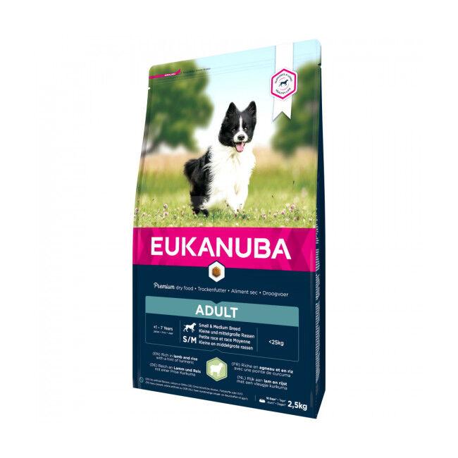 Eukanuba Croquettes pour chien adulte petite et moyenne race Eukanuba agneau et riz Sac 2.5 kg