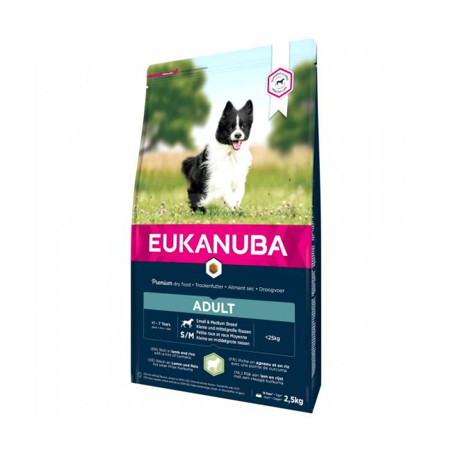 Eukanuba Croquettes pour chien adulte petite et moyenne race Eukanuba agneau et riz Sac 12 kg