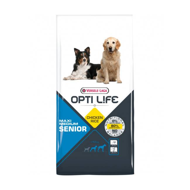 Opti-Life Croquettes pour chien senior moyenne et grande taille Opti Life Sac 12,5 kg