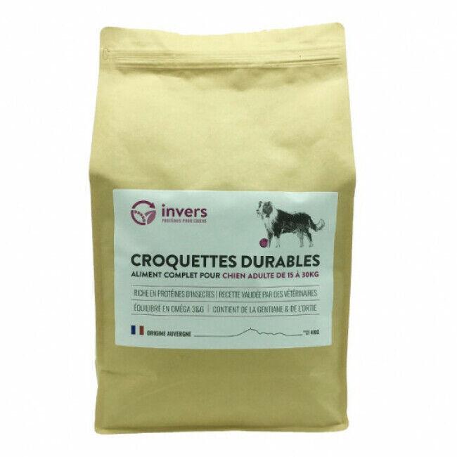 Invers Croquettes pour chiens de moyenne race (15kg à 30 kg) aux protéines d'insectes - Sac 4 kg