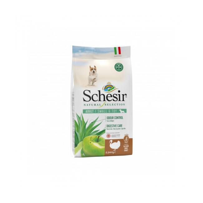 Schesir Croquettes sans céréales Natural Selection Schesir à la dinde pour petit chien - Sac 2,24 kg