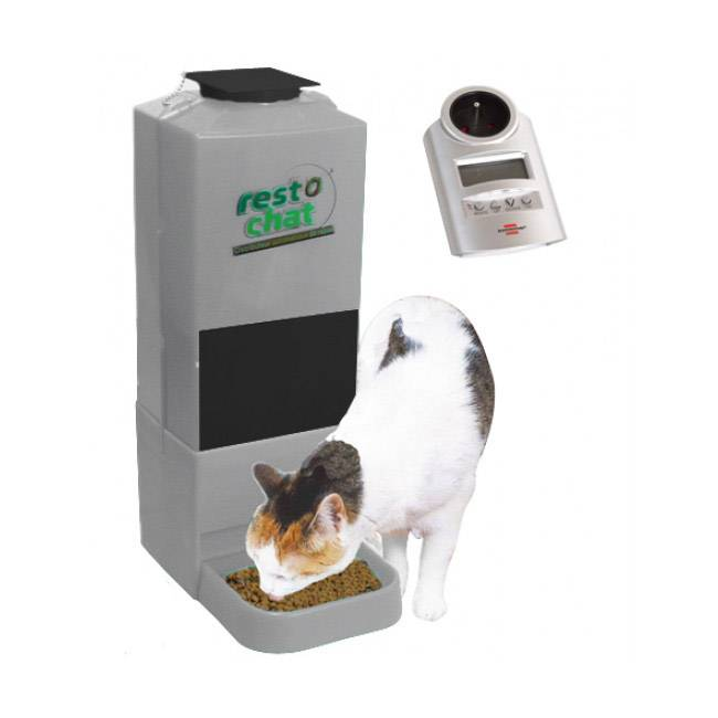 P2D ® Distributeur croquettes automatique et programmable pour petit chien ou chat Resto Chat