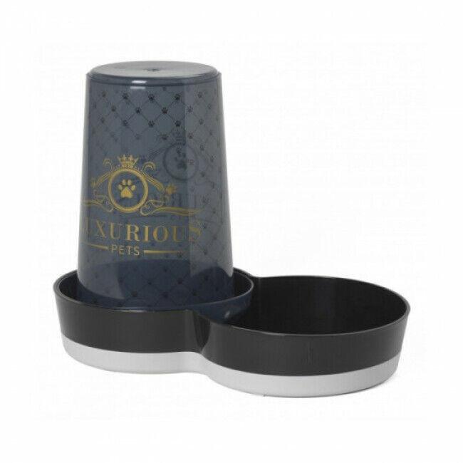 Anka Distributeur d'eau ou de croquettes pour chat ou chien Anka sérigraphié Luxurious noir 1,5 L
