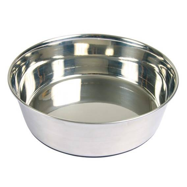 Trixie Ecuelle en acier inox anti-dérapante Trixie pour chiens Contenance 1 litre Diamètre 17 cm